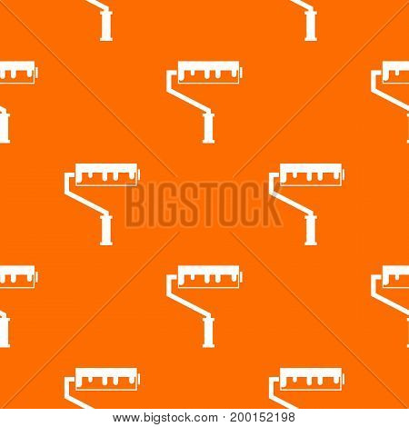 Paint roller with paint pattern repeat seamless in orange color for any design. Vector geometric illustration