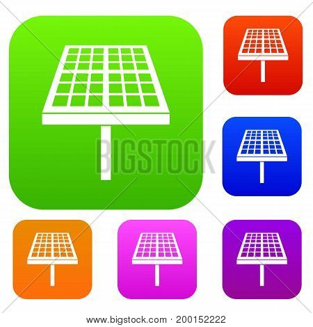 Solar energy panel set icon in different colors isolated vector illustration. Premium collection