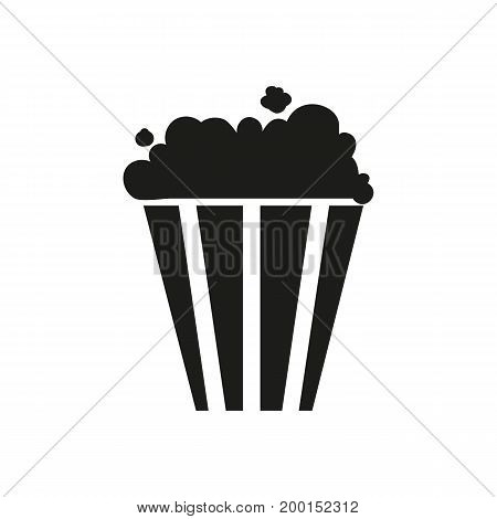 Simple icon of popcorn bucket. Cinema, fast food, snack. Movie concept. Can be used for topics like leisure, food, entertainment