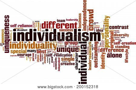 Individualism word cloud concept. Vector illustration on white