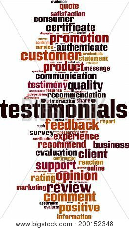 Testimonials word cloud concept. Vector illustration on white