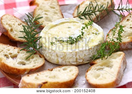 baked camembert cheese fondue with bread