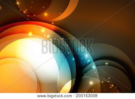 digital illustration, glowing waves and circles