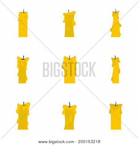 Wax candles icon set. Flat style set of 9 wax candles vector icons for web isolated on white background