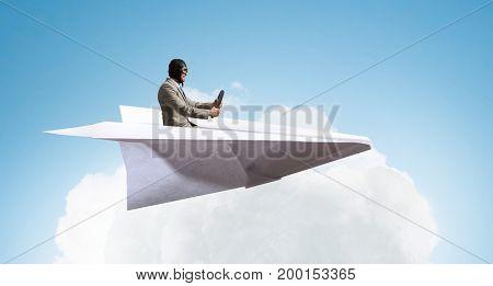 Aviator in paper plane. Mixed media . Mixed media