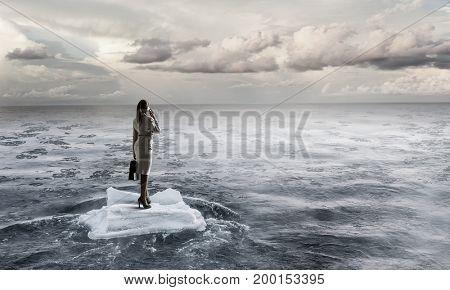 Surfing sea on ice floe. Mixed media . Mixed media