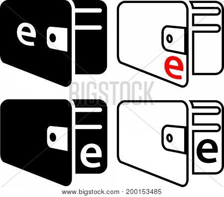 Wallet Electronic Icon  Raster Illustration
