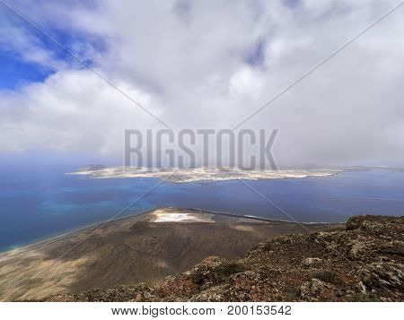 Impressive view from Mirador del Rio to island of La Graciosa Lanzarote Canary islands
