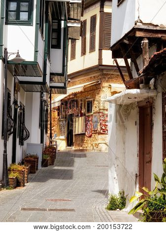 Detail shot of old houses and narrow street from Old City, Antalya Turkey