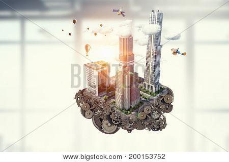 Construction and urban development. Mixed media . Mixed media