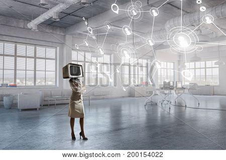 Problem of television addiction. Mixed media . Mixed media