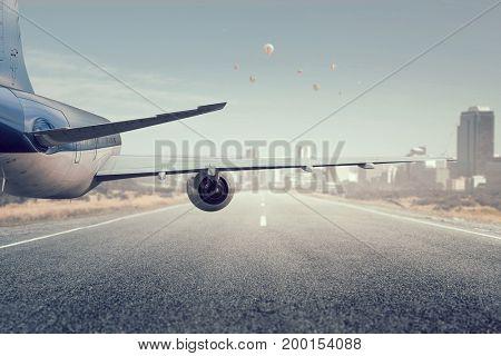Emergency airplane landing. Mixed media . Mixed media
