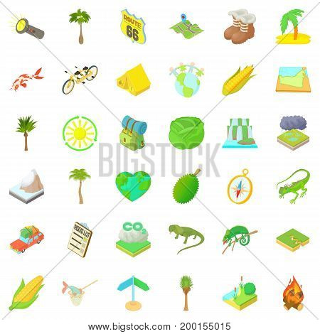 Nature rest icons set. Cartoon style of 36 nature rest vector icons for web isolated on white background