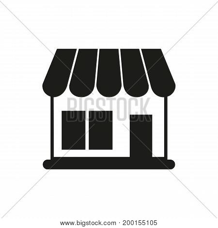 Simple icon of shop building. Store, house, boutique. Basket concept. Can be used for topics like shopping, construction, building