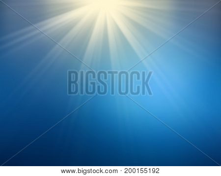 background image of de-focused abstract lights and beam of light over blue background