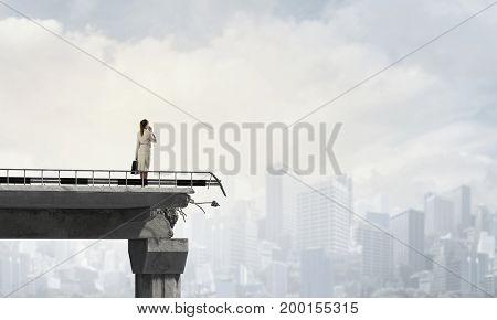 Engineer woman on bridge. Mixed media . Mixed media
