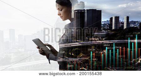 Modern business lifestyle. Mixed media . Mixed media