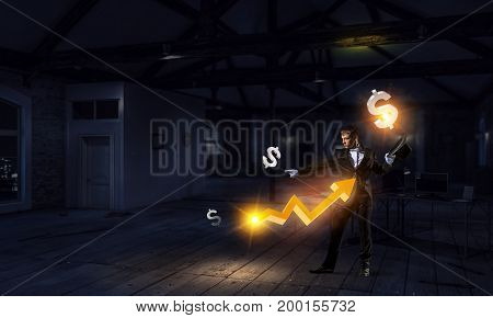 Businessman demonstrating magic . Mixed media . Mixed media