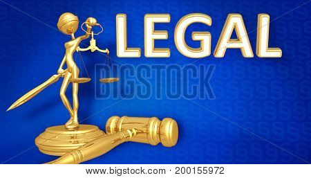 Legal Concept Lady Justice The Original 3D Character Illustration