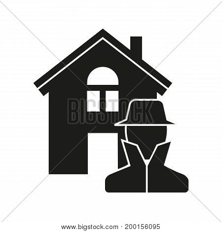 Simple icon of thief at house. Robbery, theft, surveillance. Insurance concept. Can be used for topics like business, investigation, protection of property