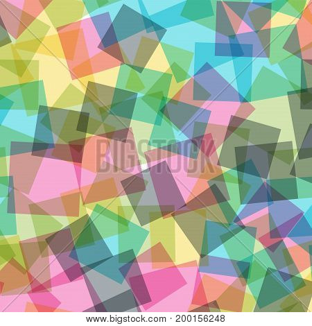Abstract Squares Pattern. White Geometric Background. Surprising Random Squares. Geometric Chaotic D