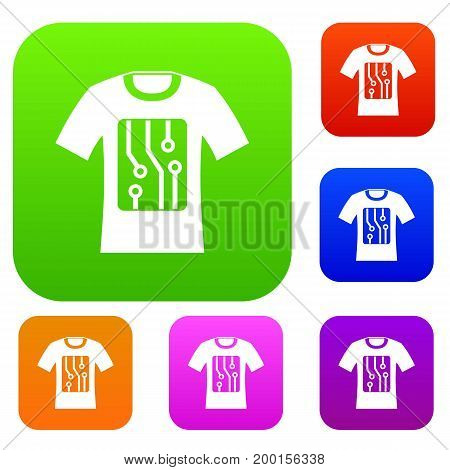 Electronic t-shirt set icon in different colors isolated vector illustration. Premium collection