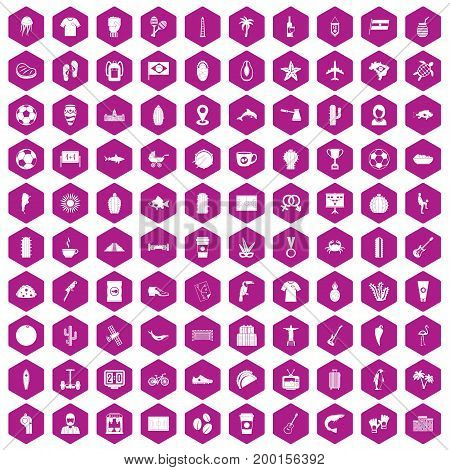 100 South America icons set in violet hexagon isolated vector illustration