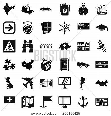 Globe cartography icons set. Simple style of 36 globe cartography vector icons for web isolated on white background