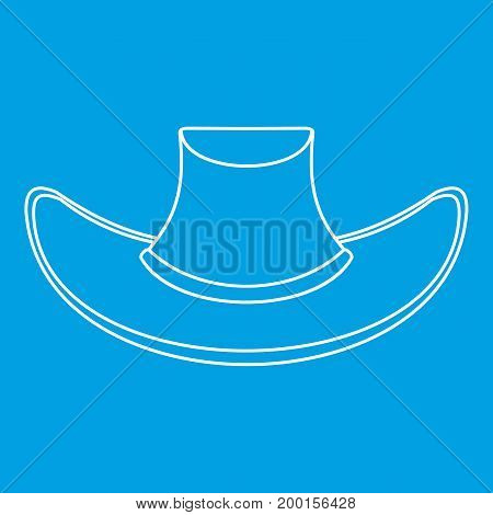 Cowboy hat icon blue outline style isolated vector illustration. Thin line sign