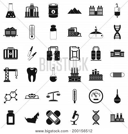 Chemical plant icons set. Simple style of 36 chemical plant vector icons for web isolated on white background