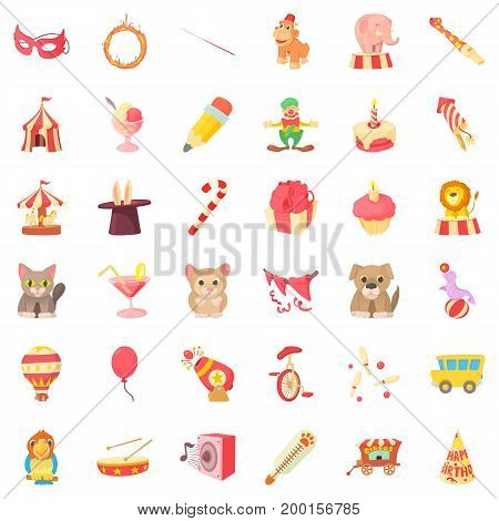 Carnival in childhood icons set. Cartoon style of 36 carnival in childhood vector icons for web isolated on white background