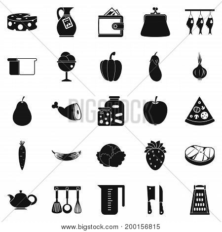 Meat delicacy icons set. Simple set of 25 meat delicacy vector icons for web isolated on white background