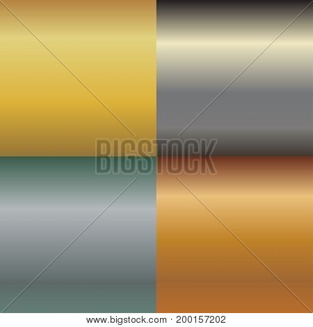 Metal texture pattern set, metallic gold and silver background, golden gradient, aluminum and brass template,  glossy titanium alloy backdrop. Vector