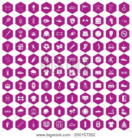 100 sport club icons set in violet hexagon isolated vector illustration