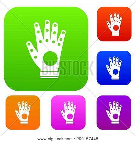 Electronic glove set icon in different colors isolated vector illustration. Premium collection