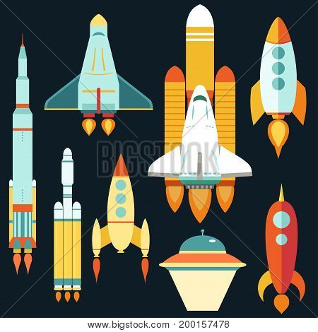 Rocket ships Start Up flat style Set, Space rocket launch, symbol new Businesses Innovation Development.  Vector