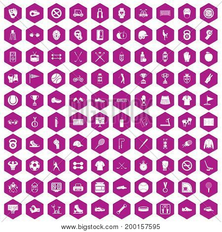 100 sport equipment icons set in violet hexagon isolated vector illustration