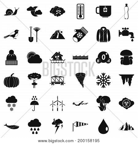 Autumn cloud icons set. Simple style of 36 autumn cloud vector icons for web isolated on white background