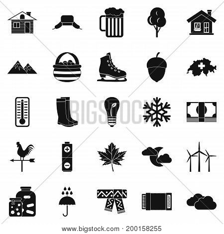 Summer cottage icons set. Simple set of 25 summer cottage vector icons for web isolated on white background