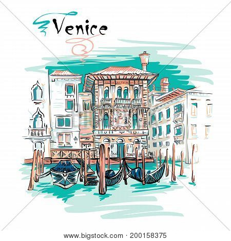 Vector picturesque view with Palazzo in Venetian Gothic style on the Grand Canal in summer day, Venice, Italy.