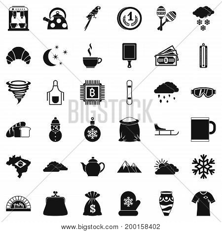Hot coffee icons set. Simple style of 36 hot coffee vector icons for web isolated on white background