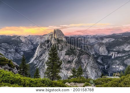 Half Dome Sunset in Yosemite National Park, California