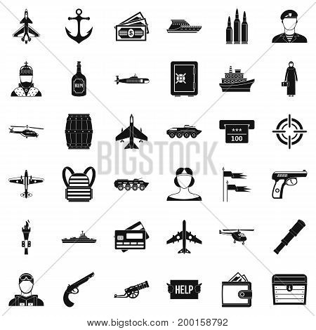 Combat alarm icons set. Simple style of 36 combat alarm vector icons for web isolated on white background
