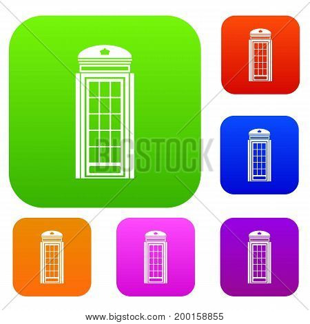 Phone booth set icon in different colors isolated vector illustration. Premium collection