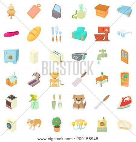 Comfortable rest icons set. Cartoon style of 36 comfortable rest vector icons for web isolated on white background