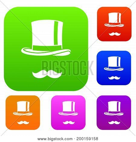 Cylinder and moustaches set icon in different colors isolated vector illustration. Premium collection