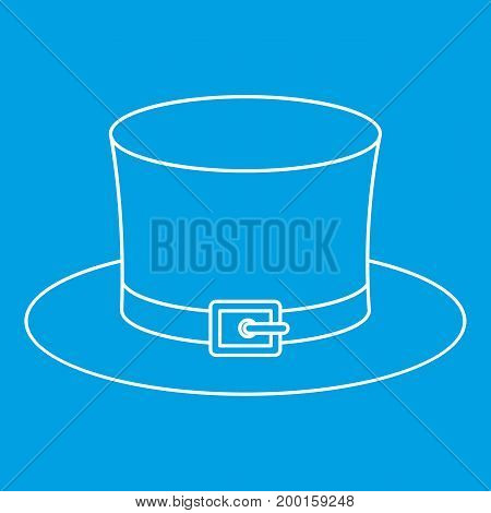 Leprechaun hat icon blue outline style isolated vector illustration. Thin line sign