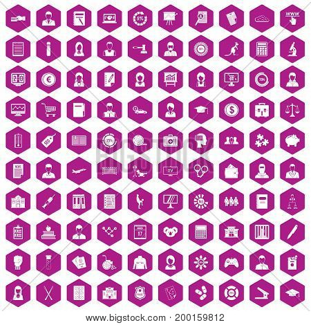 100 statistic data icons set in violet hexagon isolated vector illustration