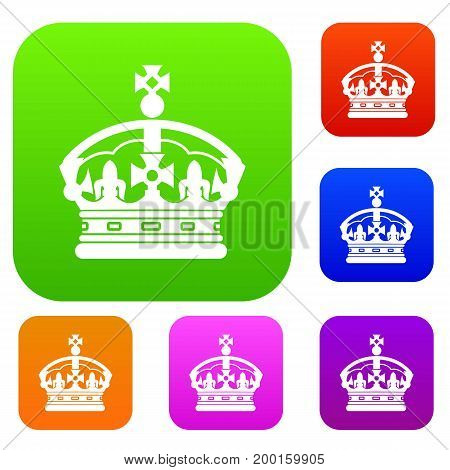 Crown set icon in different colors isolated vector illustration. Premium collection