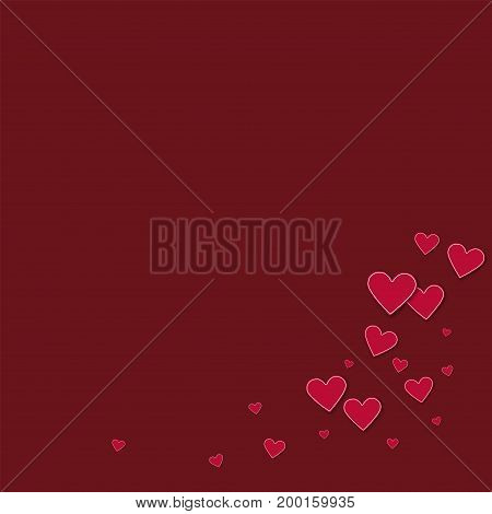 Cutout Red Paper Hearts. Bottom Right Corner On Wine Red Background. Vector Illustration.